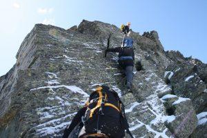 Jedna z těžších lezeckých pasáží.