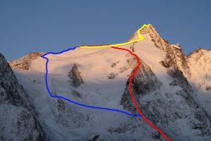 Přibližná trasa našeho výstupu. Červeně Meletzkigrat, žlutě cesta na vrchol, modře sestup normálkou.