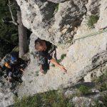 Zajímavý traverz po menších chytech, krásné lezení.