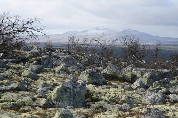 Průhled pustou krajinou na Stor-Svuku, nejznámější horu v okolí.