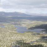 Ohromná zalesněná pláň pokrytá jezery všude, kam se člověk podívá.