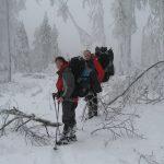 S přibývající výškou rostlo množství námrazy na stromech.