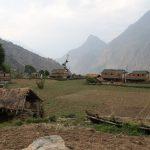 Typická místní vesnice Takam: domky, chatrče a na každém rovném plácku políčka.