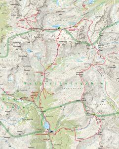 Mapa celého 4denního treku.